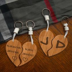 Drveno srce poklon privezak poklon