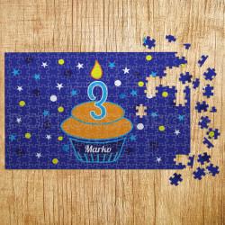Poklon puzzle ugasi svećicu plava podloga