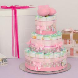Roze patofne poklon torta od pelena