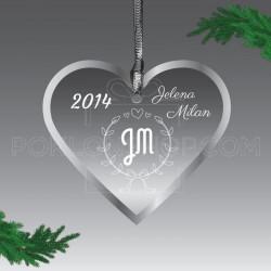 Inicijali u srcu poklon ukras