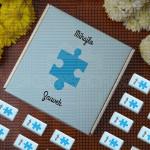 Plava slagalica poklon kutija sa čokoladicama