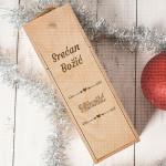 Srećan Božić prezime poklon kutija za vino