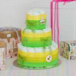 Zeleno žuta poklon torta od pelena